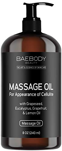 (Baebody Massage Oil - Fight the Appearance of Cellulite - with Grapeseed Oil, Eucalyptus Oil, Lemon Oil, and Grapefruit Oil, Penetrates Deeper than Cream, 8 OZ )