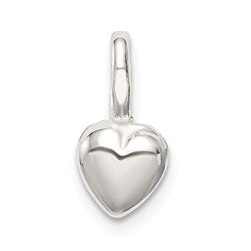 Solid 925 Sterling Silver Pendant Puffed Love Plain Heart Charm (12mm x 6mm) (Heart 12mm Puffed Charm)