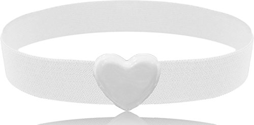 LUNA Fashion 2 Inch Heart Buckle Cinch Belt - Original - White
