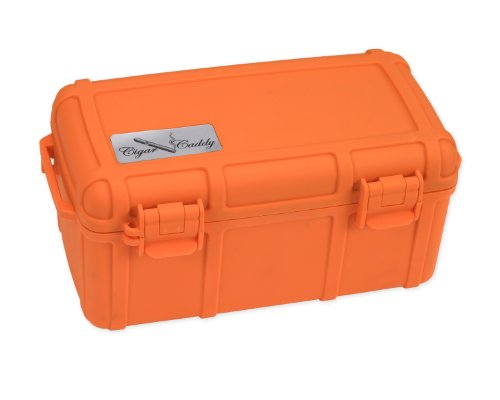 Cigar Caddy 3540-R Blaze 15 Cigar Waterproof Travel Humidor, Blaze Orange Rubberized - Humidor Habana