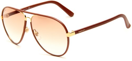 Gucci Women's 2887/S Aviator Sunglasses,Cuir Tan Leather Frame/Brown Gradient Lens,One - Gucci Sunglasses Aviator Brown