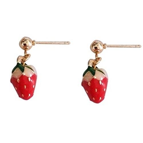 18K Gold Plated Fruit Green Leaf Red Strawberry Charm Women Stud Earring