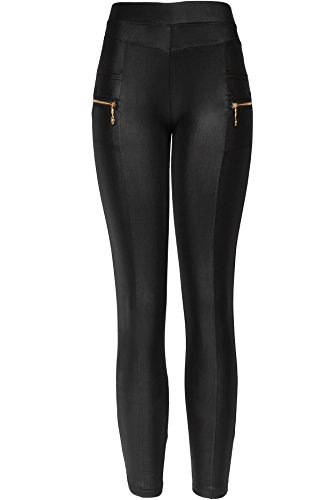 KMystic Sexy Faux Leather Designs Leggings (Medium/Large, Pocket Middle Seam) ()