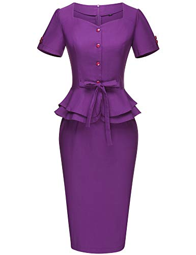 (GownTown Women's Vintage 1950s Retro Rockabilly Prom Dresses Purple)