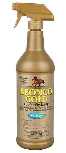 Farnam 32 Fl Oz Bronco Gold Equine Fly Spray Kills and Repels Ready to Use Oil Based