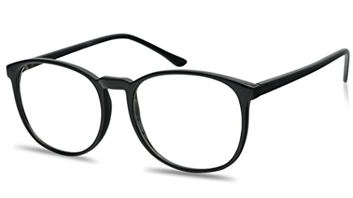 Large 55mm Nerdy Thin Plastic Non Prescription Clear Lens Fashion Eye Glasses Single & 2 Pack (Black, - 1 Glasses In 2