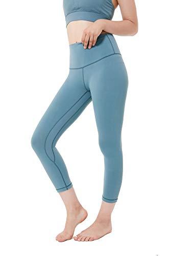 - Eshtanga High Waist Yoga Capri Leggings Tummy Control Running Pants with Inner Pocket Mystic Green-XL