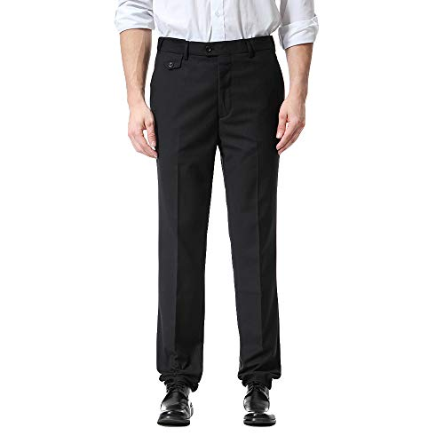 ALIKEEY Los Hombres De Bolsillo Guardapolvos Casual Pocket Business Casual Work Casual es De Pantalón Negro