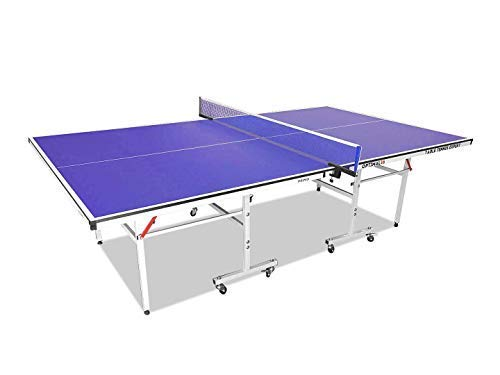 T&R sports 5/8 Inch Ping Pong Table Tennis Table Foldable Easy Moving Storage 4-Piece Design with Free Rackets Balls and Net Set, Solo Play Mode