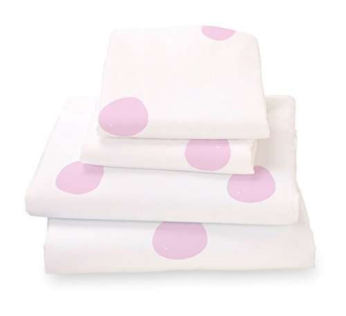 Queen Sheet Set Pink Polka Dot - Double Brushed Ultra Microfiber Luxury Bedding Set