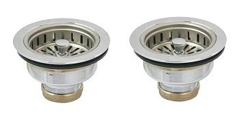 (Everflow 7513 Heavy Duty Kitchen Sink (3-1/2 Inch) Stainless Steel Drain Assembly With Strainer Basket KOHLER Style Stopper (2-(Pack)))