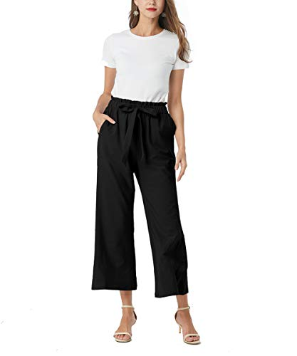 Aprance Women Wide Leg Pant Casual Loose Soft Comfy Breathable Elastic Waist Beach Pants Palazzo Trouser
