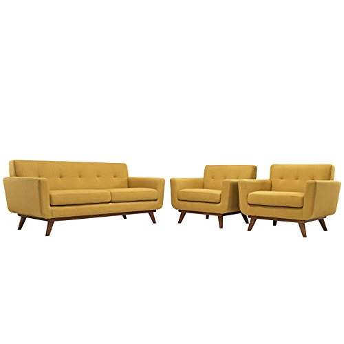 Modway Engage Mid-Century Modern Upholstered Fabric Two Armchair and Loveseat,...