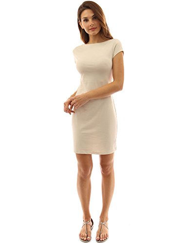 PattyBoutik DR-0978-LPP-S - Vestido para mujer Beige