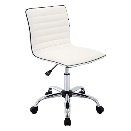 Porthos Home ZFC008A WHT Office Chair with PVC Upholstery 360° Degree Swivel and Adjustable Height and Ribbed Design, One Size, White