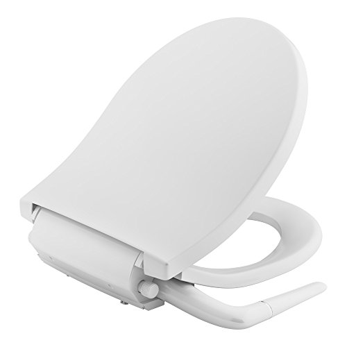 KOHLER K-76923-0 Puretide Round Front Manual Bidet Toilet Seat, White with Quiet-Close Lid and Seat, Adjustable Spray Pressure and Position, Self-Cleaning Wand, No Electrical Outlet Needed