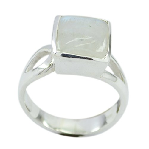 Gemsonclick Natural Rainbow Moonstone Ring For Women Silver Birthstone Square Shape Handmade US 5,6,7,8,9,10,11,12