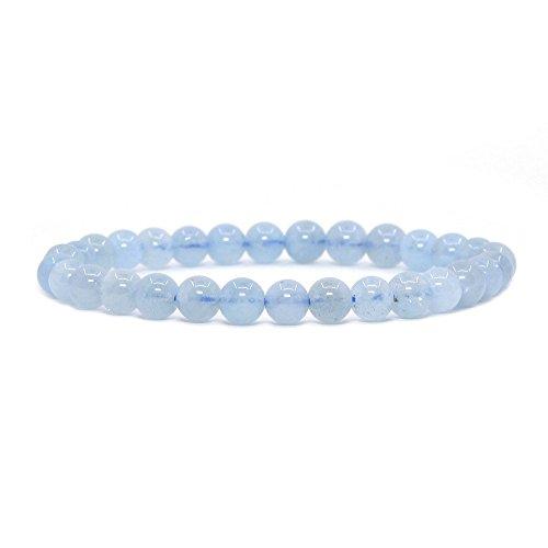 Justinstones Natural Aquamarine Gemstone 6mm Round Beads Stretch Bracelet 6.5 Inch