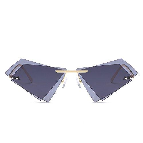 Femmes Lens Gold pour Frame Gray Frame Sunglasses Double Soleil Lunettes Monture Triangle Sakuldes sans Gray Lens de et Les Hommes Color Tea Les 4ZqUXtn