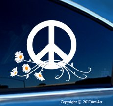 PEACE Sign Symbol Car Window Sticker Decal-LARGE WHITE & YELLOW Peace Daisy Flower Power VINYL sticker for car window laptop walls truck trailer by AmiArt (Image #1)