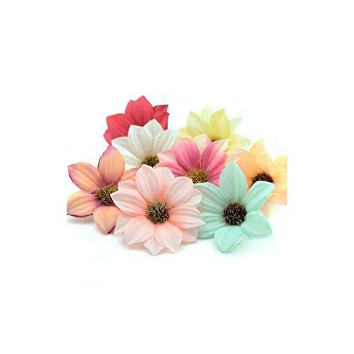 30Pcs 5.5Cm Mini Gerbera Artificial Rose Rose Flower Head Wedding Decoration DIY Wreath Accessories Crafts,Mix - Seed Wreath Sunflower