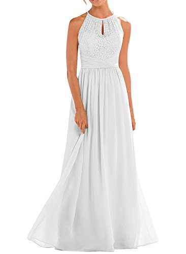 VaniaDress Women Halter Sleeveless Long Evening Dress Formal Gowns V266LF White US10 from VaniaDress