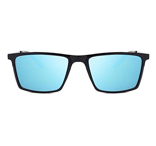 lunettes de des polarisé Huateng des Noir lunettes classiques carré soleil a rétro hommes de cadre UV400 Bleu qPw7Pp