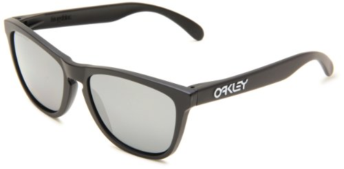 Oakley Men's OO9013 Frogskins Square Sunglasses, Matte Black/Black Iridium Polarized, 55 ()