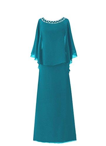 H.S.D Women's Cloak Flutter Sleeve Full Length Mother of The Bride Dress Jade