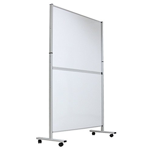 VIZ-PRO Mobile Room Divider/Office Partition, Double-sided Magnetic Whiteboard 48'Wx72'H