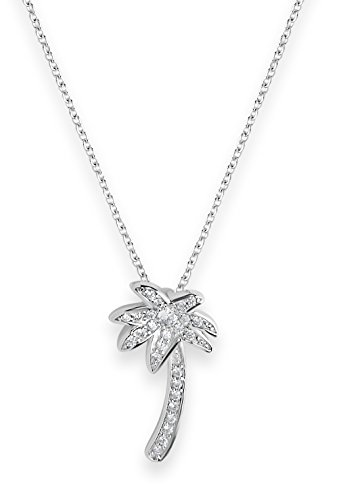Sterling Forever - .925 Sterling Silver CZ Palm Tree Pendant Necklace (in Silver and Gold) (Sterling-Silver, 16) ()