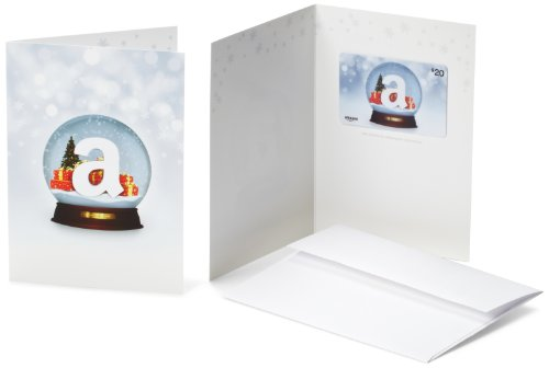 - Amazon.com $20 Gift Card in a Greeting Card (Holiday Globe Design)