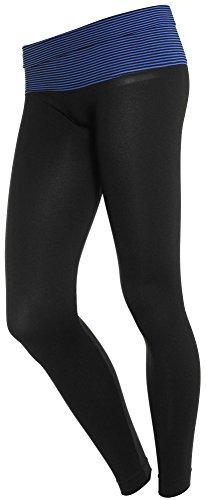 Slimming Fold over Waist Contrast Band Long Lounge Soft Yoga Pants, Blue Stripe