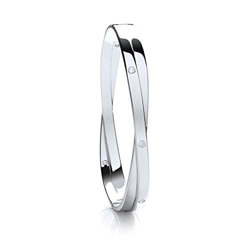 Jareeya-Argent Sterling massif CZ Kiss Bracelet 28.7G