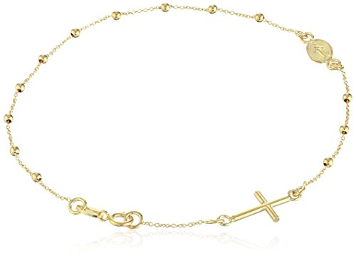14k Yellow Gold Religious Rosary Adjustable Bracelet (Gold Bracelet Yellow 14k Rosary)