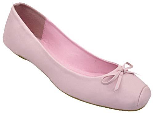 Best Cute Hot Pink Ballet Flats Shoes for Women Juniors Size 7 Mujer Flat Heel Vegan Leather Comfy Formal Clothes Designer Sexy Tween Girl Slip On Sandals Easter Basket Filler Gift Idea (Size 7, Pink)