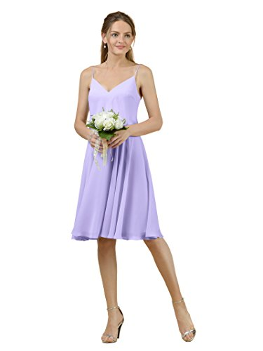 Lilac V Spaghetti Short Gown Chiffon Dress Alicepub Neck Party Prom Bridesmaid Evening acfqAPSw