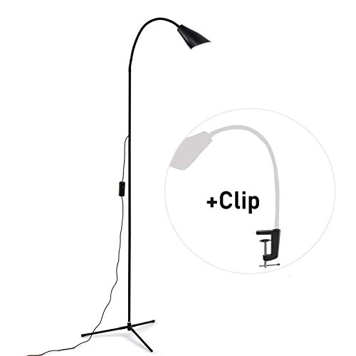 Dimmable LED Floor Lamp with Flexible Gooseneck Reading Floor Lamp Standing Lamp for Home, Sewing, Bedroom, Living Room, Office, Task- Black