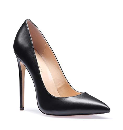 SUNETEDANCE Women's Slip-on Pumps High Heels Pointy Toe Sexy Elegant Stiletto Heels 12CM Heel Shoes Pu Black Pump 7.5 M US