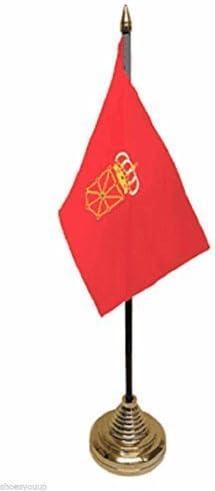 De la bandera de España Navarra español poliéster de escritorio de la bandera de 15,24 cm X 10,16 cm oro Base: Amazon.es: Hogar