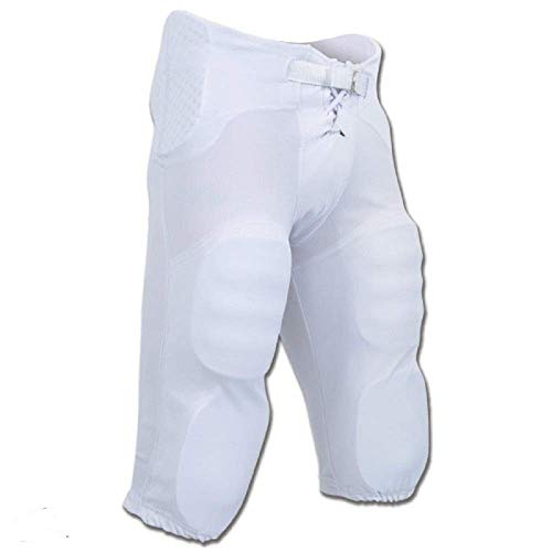 Adult Practice Football Pants - CHAMPRO Integrated Pant with Built-in Pads; M; White; Adult