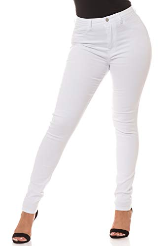 Aphrodite Plus Size High Waisted Jeans - High Rise Waist Skinny Womens Jeans with Faux Front Pockets 4271 White 2XL