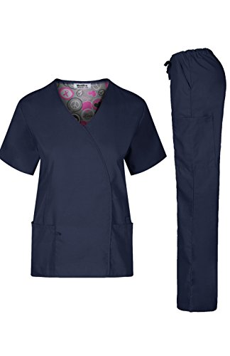 Blue Print Scrub - MedPro Women's Medical Scrub Durable and Soft Y Neck Line Top and Cargo Pants Navy M (GT-7811)