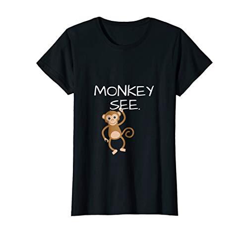 Womens Monkey See Monkey Do Funny TShirt; DOUBLESIDED Small Black