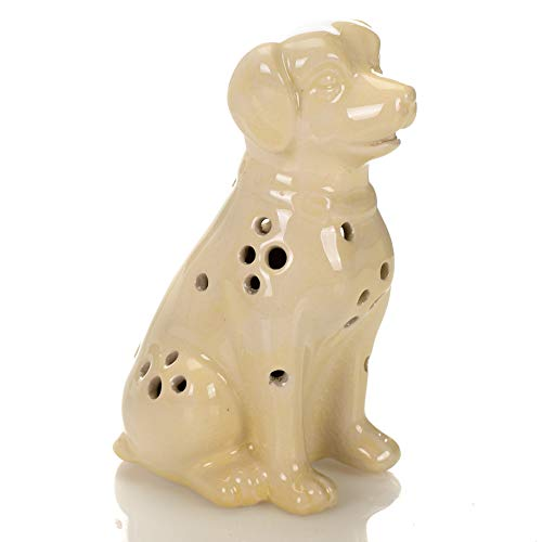 Figurine Dog Collectible (Drew Derose Glossy White Dog LED Lighted 5 x 4 Ceramic Collectible Figurine)