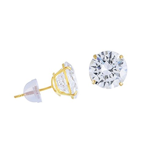 Yellow Gold 6mm Round Solitaire - 14k Yellow Gold CZ Solitaire Round Stud Earrings Earring Studs Push Back Silicone Basket Cubic Zirconia 6 mm