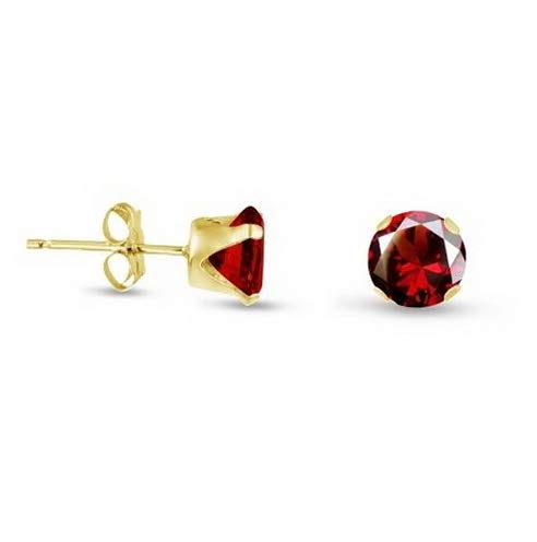 Campton Gold Plated Sterling Silver Stud Earrings Round - Red Garnet CZ~January | Model ERRNGS - 13474 | 5mm - Top ()