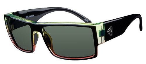 Ryders Eyewear CHOPS Cycling Sunglasses with Green Polarized Lenses, Black