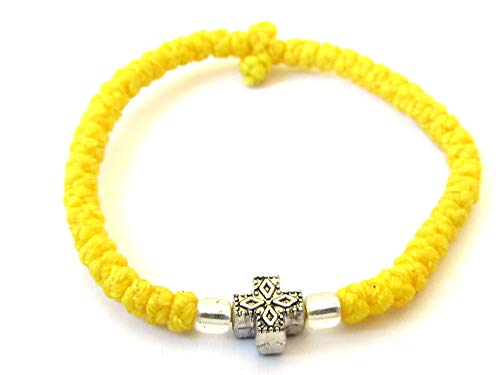 Iconsgr Handmade Christian Orthodox Komboskoini Chotki Prayer Rope Bracelet Yellow ()