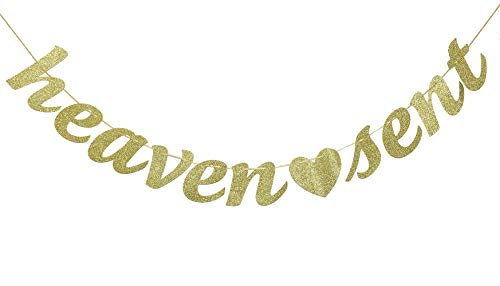 Heaven Sent Gold Glitter Banner- Baby Shower, Pregnancy Announcement, Gender Reveal Party Supplies (Gold)
